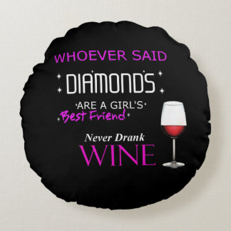 Wine Is My BFF Round Pillow