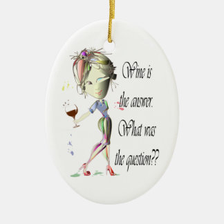 Wine is the answer, what was the question? christmas ornament