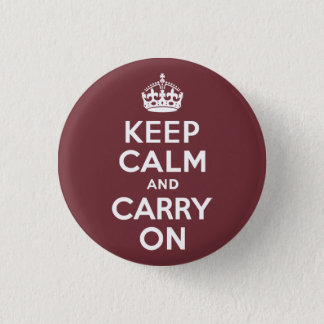 Wine Keep Calm and Carry On 3 Cm Round Badge