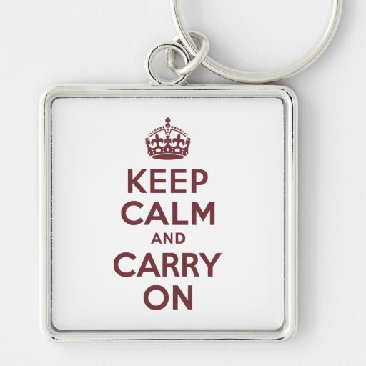Wine Keep Calm and Carry On Key Chain