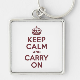 Wine Keep Calm and Carry On Silver-Colored Square Key Ring