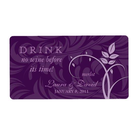 Wine Label Leaf Swirls Purple