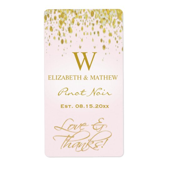 Wine Label Pink and Gold with Confetti