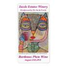 Wine Label - Talavera Pink Owl Drinking Red Wine