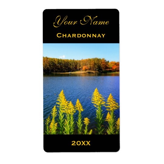 Wine Label Template Goldenrod Blue Lake Autumn Shipping Label