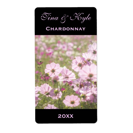 Wine Label Template Pink Cosmos Flower Meadow Shipping Label
