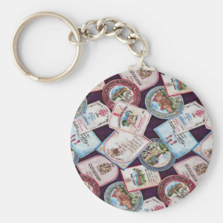 Wine Labels Basic Round Button Key Ring