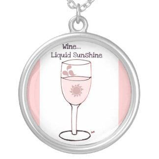 """WINE...LIQUID SUNSHINE"" WHITE WINE PRINT ROUND PENDANT NECKLACE"