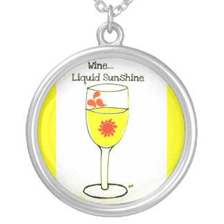 """WINE LIQUID SUNSHINE"" WHITE WINE PRINT ROUND PENDANT NECKLACE"