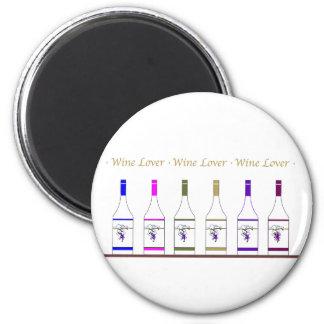 WINE LOVER_6 BOTTLE 6 CM ROUND MAGNET