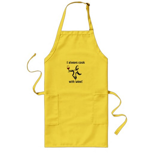 """Wine Lover Apon """"I alway cook with wine"""" Aprons"""