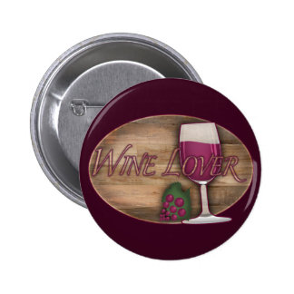 Wine Lover on Wood Oval 6 Cm Round Badge