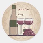 Wine Lover Red Wine Bottle Glasses & Grapes Round Sticker