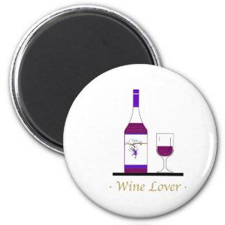 WINE LOVER (SINGLE BOTTLE) 6 CM ROUND MAGNET
