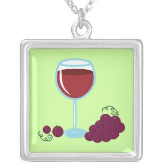Wine Lover Square Pendant Necklace
