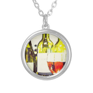 Wine Lover Watercolor Round Pendant Necklace