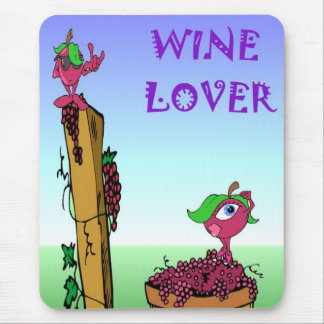 Wine lover with grapes mouse pad