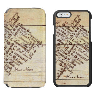 Wine Lovers Rustic Burnt Barn Wood Typography Name Incipio Watson™ iPhone 6 Wallet Case