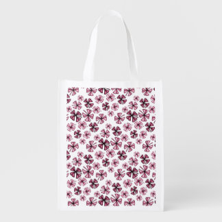 Wine Lucky Shamrock Clover Reusable Grocery Bag