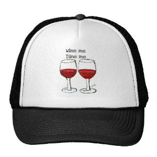 """WINE ME, DINE ME"" FUN RED WINE SAYING MESH HAT"