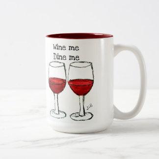 """""""WINE ME, DINE ME"""" FUN RED WINE SAYING MUGS"""