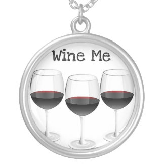 WINE ME RED WINE GLASSES PRINT NECKLACE