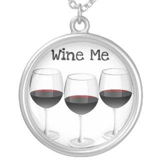 """WINE ME"" RED WINE GLASSES PRINT ROUND PENDANT NECKLACE"