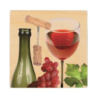 Wine Montage Wood Coaster