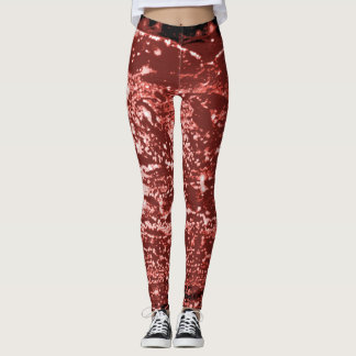 Wine Mottled Wax Texture Patterned Leggings