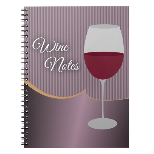 Wine Notes with Purple Stripes & Wine Glass Notebook