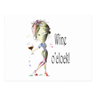 Wine o clock Humorous Wine saying gifts Post Cards
