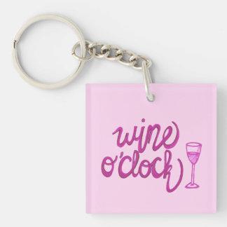 Wine O'Clock Double-Sided Square Acrylic Key Ring