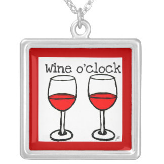 """WINE O'CLOCK"" FUN RED WINE PRINT PERSONALIZED NECKLACE"