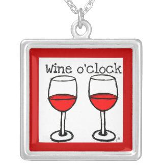 """""""WINE O'CLOCK"""" FUN RED WINE PRINT SQUARE PENDANT NECKLACE"""