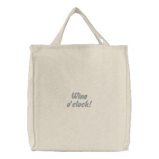 Wine o'clock Humorous Embroidered Bag