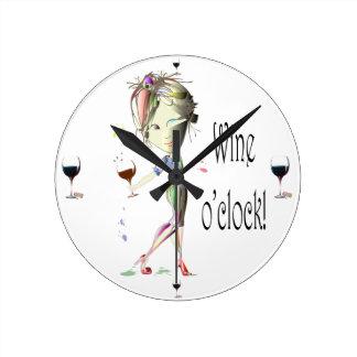 Wine o'clock humorous Wine art Gifts Round Clock