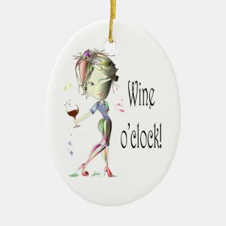 Wine o'clock! Humorous Wine saying gifts Ceramic Oval Decoration