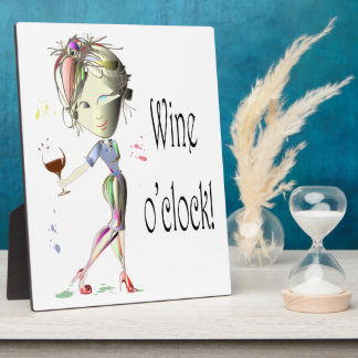 Wine o'clock! Humorous Wine saying gifts Plaque