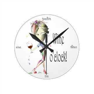 Wine o'clock! Humorous Wine saying gifts Round Clock