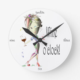 Wine o'clock! Humorous Wine saying gifts Wall Clock