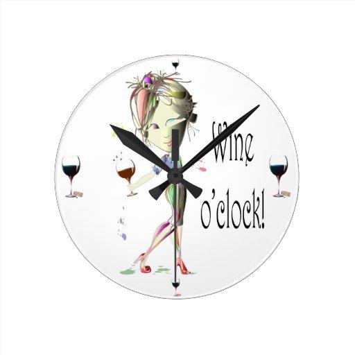 Wine o'clock humourous Wine art Gifts Round Clock