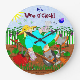 Wine O'Clock in the Garden Large Clock