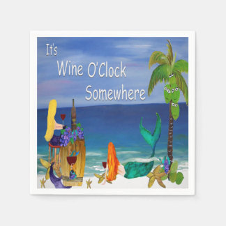 Wine O'Clock mermaids napkins from art Disposable Napkins