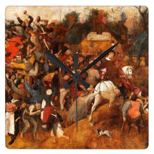 Wine of Saint Martins Day by Pieter Bruegel Clock