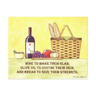 Wine, Oil and Bread Canvas Prints