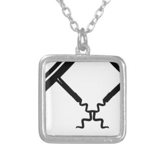 wine opener square pendant necklace