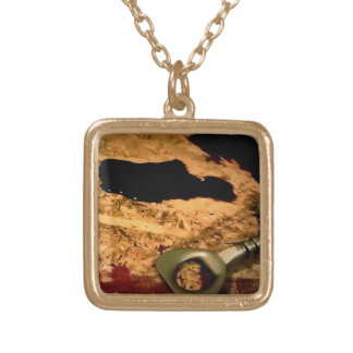 Wine opener with spill square pendant necklace