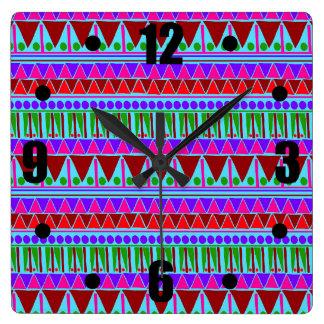 Wine Pink Aztec Stripes Pattern Boho Style Ethnic Square Wall Clock