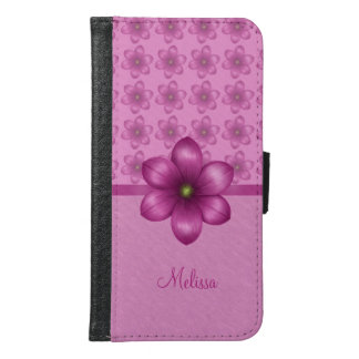 Wine Pink Floral Pattern Samsung Galaxy S6 Wallet Case