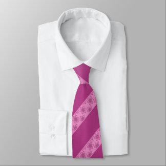 Wine Pink Floral Stripe Tie